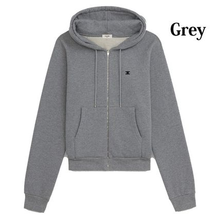 CELINE Hoodies Unisex Street Style Long Sleeves Plain Cotton Hoodies 6