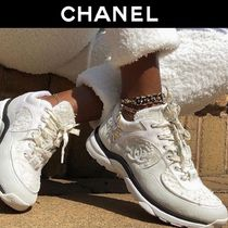 CHANEL Plain Toe Casual Style Suede Tweed Blended Fabrics Plain