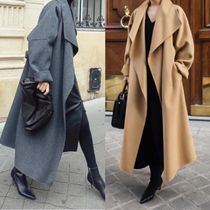 Casual Style Wool Cashmere Street Style Plain Long Handmade