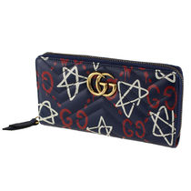 GUCCI Star Monogram Leather Long Wallets