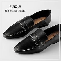 ZARA Studded Leather Loafer & Moccasin Shoes