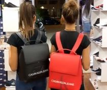 Calvin Klein Casual Style Unisex A4 2WAY Plain Oversized Logo Backpacks