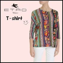 ETRO Flower Patterns Cropped Long Sleeves Elegant Style