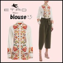 ETRO Flower Patterns Long Sleeves Cotton Elegant Style