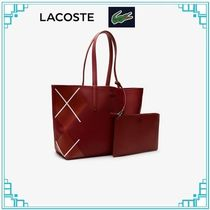 LACOSTE Casual Style A4 2WAY PVC Clothing Elegant Style Totes