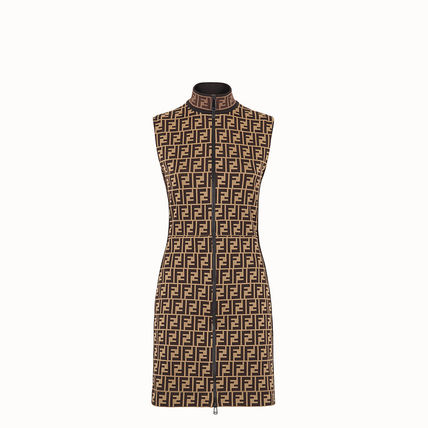 FENDI Short Monogram Tight Sleeveless Cotton High-Neck Dresses