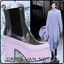 Dries Van Noten Platform Round Toe Rubber Sole Casual Style Blended Fabrics