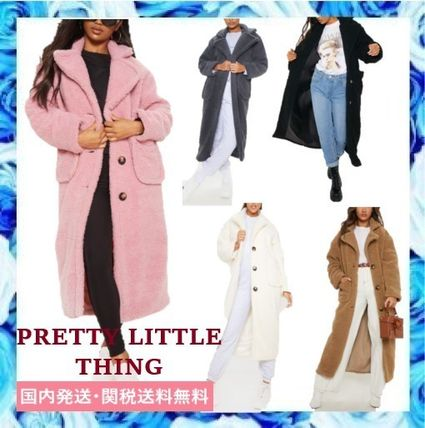 Casual Style Plain Long Oversized Shearling Coats