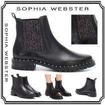 SOPHIA WEBSTER Platform Plain Leather Elegant Style Ankle & Booties Boots