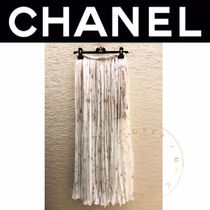 CHANEL ICON Flared Skirts Flower Patterns Casual Style Maxi Silk