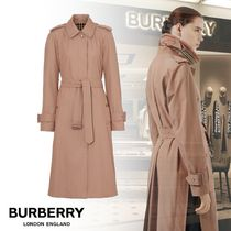 Burberry Stripes Other Check Patterns Casual Style Plain Leather Long