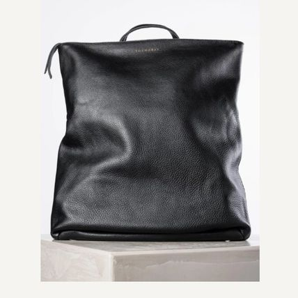 Casual Style Unisex Street Style A4 Plain Leather