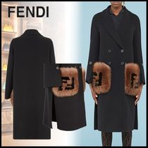 FENDI Casual Style Wool Fur Blended Fabrics Plain Long