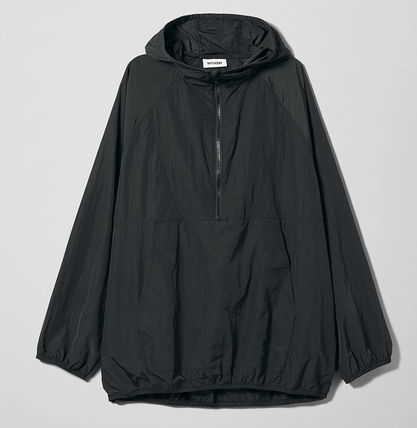Short Nylon Street Style Plain Oversized Jackets