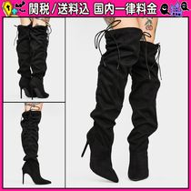 DOLLS KILL Casual Style Studded Plain Pin Heels Over-the-Knee Boots