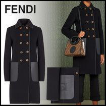 FENDI Casual Style Wool Plain Leather Medium Elegant Style