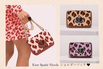 kate spade new york NICOLA Leopard Patterns Leather Logo Shoulder Bags