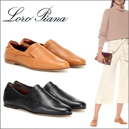 Round Toe Plain Leather Office Style Elegant Style