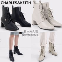 Charles&Keith Lace-up Casual Style Faux Fur Plain Block Heels