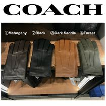 Coach Wool Plain Leather Leather & Faux Leather Gloves