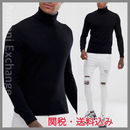 A/X Armani Exchange Knits & Sweaters Pullovers Wool Street Style Long Sleeves Plain