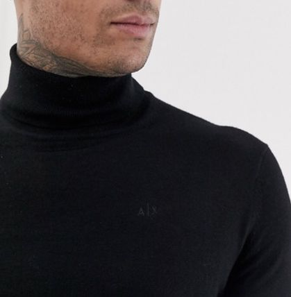 A/X Armani Exchange Knits & Sweaters Pullovers Wool Street Style Long Sleeves Plain 4