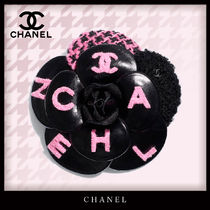 CHANEL Tweed Blended Fabrics Bi-color Leather Shearling Logo