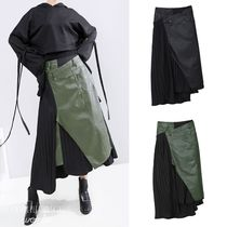 Casual Style Faux Fur Blended Fabrics Pleated Skirts