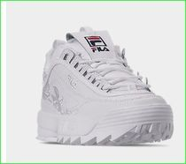 FILA Disruptor 2 Flower Patterns Plain Toe Rubber Sole Lace-up Casual Style