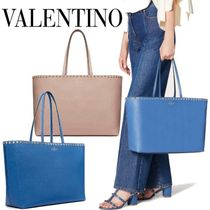 VALENTINO Casual Style Calfskin Studded A4 Plain Office Style Totes