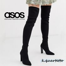 ASOS Casual Style Plain Block Heels Over-the-Knee Boots