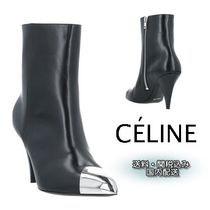 CELINE Plain Leather High Heel Boots