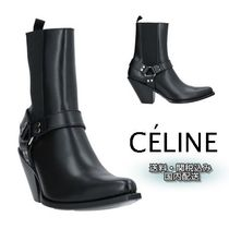 CELINE Studded Plain Leather High Heel Boots