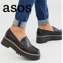 ASOS Platform Casual Style Faux Fur Office Style Chunky Heels
