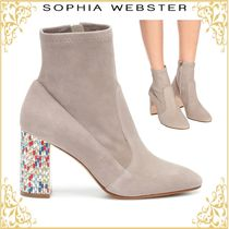 SOPHIA WEBSTER Suede Plain Leather Block Heels Elegant Style