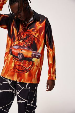 JADED LONDON Shirts Tropical Patterns Unisex Street Style Long Sleeves Oversized 2