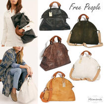 Free People Casual Style A4 2WAY Plain Leather Handbags