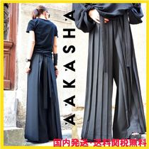 Aakasha Casual Style Maxi Wool Blended Fabrics Pleated Skirts
