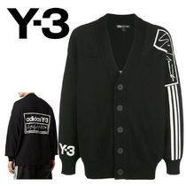Y-3 Wool Blended Fabrics Plain Logos on the Sleeves Cardigans
