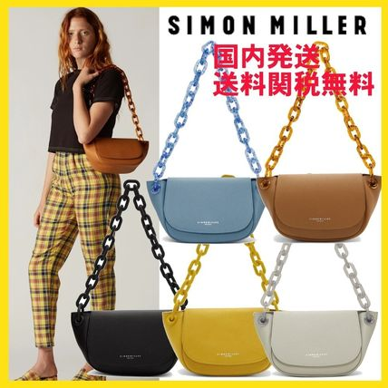 Casual Style Blended Fabrics Vanity Bags Chain Plain Leather