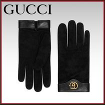 GUCCI Suede Blended Fabrics Plain Leather