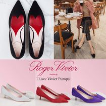 Roger Vivier Heart Casual Style Suede Blended Fabrics Plain Leather