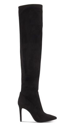 Faux Fur Plain Pin Heels Elegant Style Over-the-Knee Boots