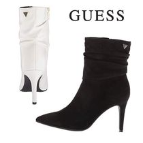 Guess Faux Fur Plain Pin Heels Elegant Style Ankle & Booties Boots