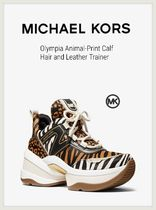 Michael Kors Olympia Leopard Patterns Platform Round Toe Rubber Sole Lace-up