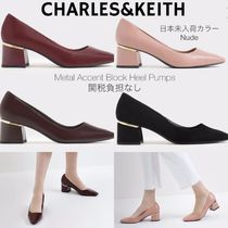 Charles&Keith Casual Style Suede Faux Fur Plain Block Heels Party Style