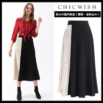 Chicwish Casual Style Pleated Skirts Long Office Style Maxi Skirts