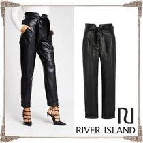 River Island Faux Fur Plain Leather & Faux Leather Pants