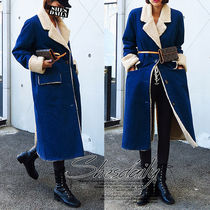 Denim Plain Long Fur Leather Jackets Cashmere & Fur Coats