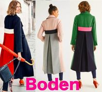Boden Wool Bi-color Plain Long Elegant Style Chester Coats